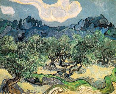 Van Gogh. Olivos con Les Alpilles al fondo (1889)