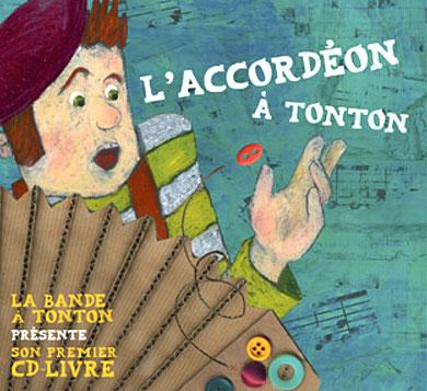 La couverture du CD-livre présente Tonton rattrapant l'un des boutons de son accordéon. Les notes de musique évoquant l'univers du musette tapissent le fond de l'illustration.