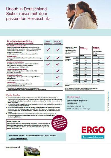 PDF-Flyer für die Storno-Reiserücktritts-Versicherung der ERGO Reiseversicherung mit Buchungslink zum Corona-Zusatz-Schutz Covid-19