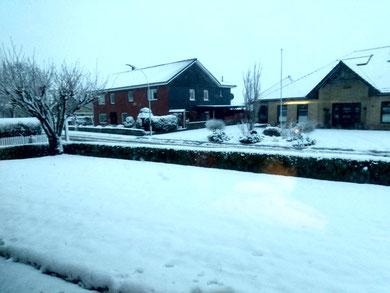 12 cm Schneedecke um 7:00 Uhr in Meggerdorf am Vortag