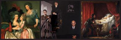 De gauche à droite : Mosnier, La famille Bergeret de Grandcourt (détail) ; Clegg & Guttmann, Group Portraits of Executives with Titian's allegory of Prudence (détail), 1981 ; Auguste Couder, La mort d
