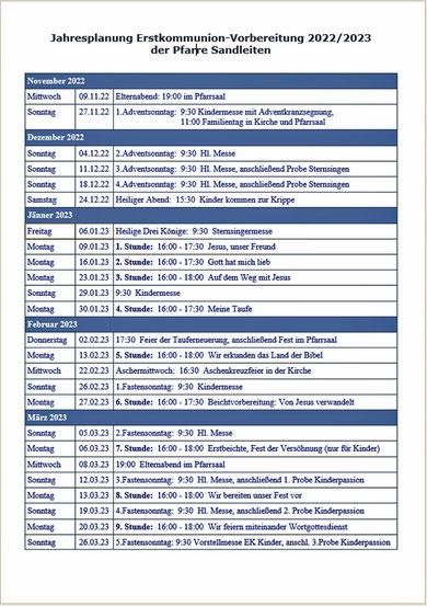 Terminplan der Vorbereitung für die Erstkommunion 2021