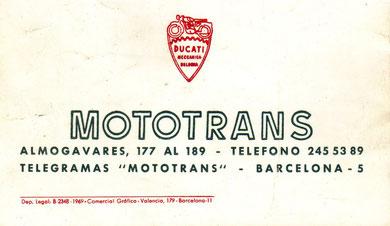 Uno de los primeros anuncios de Mototrans, aún vinculado visualmente a Ducati en Bolonia