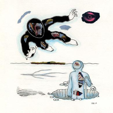 SEB. M : Troisième  dessin pour L'Enfui tourne court de René Daumal. Premier état