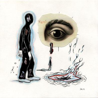 SEB. M : Second dessin pour L'Enfui tourne court de René Daumal. Premier état.