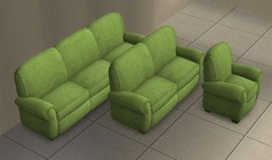 Causeuses Club détresse et fauteuil par Club design recoloration vert anis