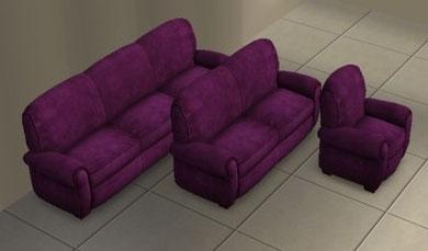 Causeuses club détresse et fauteuil par Club design recoloration violet