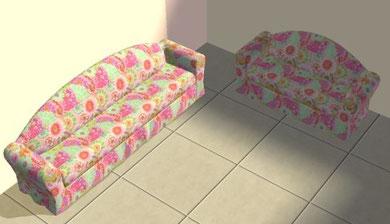 """Causeuse """"bouton de rose"""" et sofa """"fantaisie florale"""" en chêne séculaire recoloration fleurs rose et vert"""