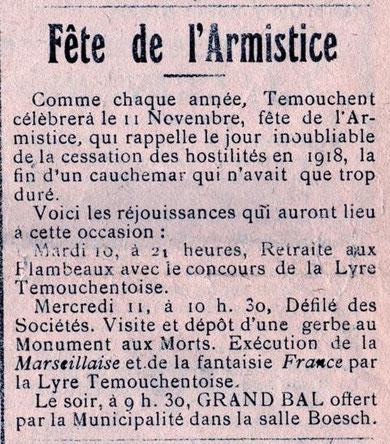 """Extrait de """" La gazette d'Aïn-Témouchent"""" du Jeudi 5 Novembre 1931"""