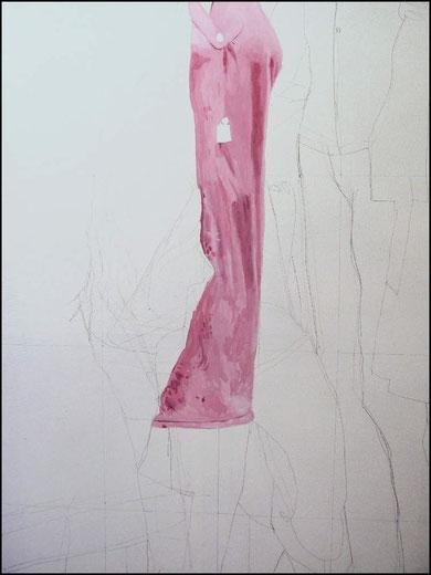 travail en cours, acrylique sur toile, 130 x 89 cm.