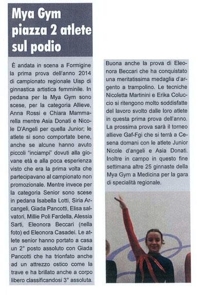 """Articolo """"Lo Sportivo"""" 15/02/2014"""