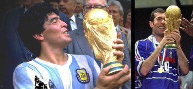Maradona y Zidane - Campeones Mundiales