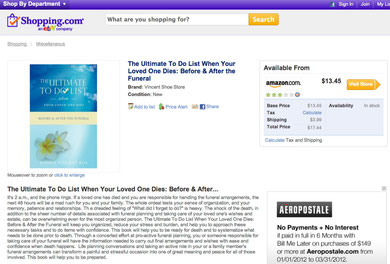 shopping.com, donna vincent roa, funeral planning, funeral arrangements, obituary, funeral check list, green funeral, military funeral