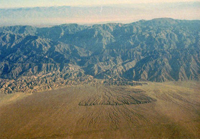 Typical alluvial fan in southern part of Tarim Basin view from airplane. Photo by T. Ishiyama.