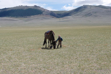Boy and horse in central west of Mongolia. Photo by K. Suzuki.