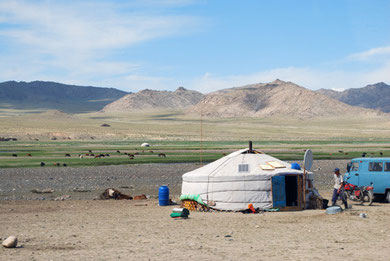 Ger in grassland, central west of Mongolia. Photo by K. Suzuki (JAALS's member).