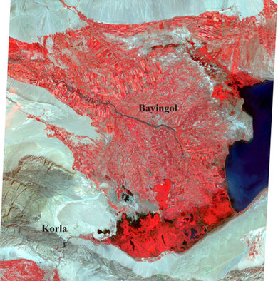A part of Bosten lake (dark blue) and Yanqi oasis. It is a freshwater lake located 57km, northeast of Korla, Xinjiang. The red areas show farmland. Image center is approxim. 42/00/N, 86/51/E. The image was acquired by JERS-1 on 4th, Nov. 1992. ©ERSDAC.