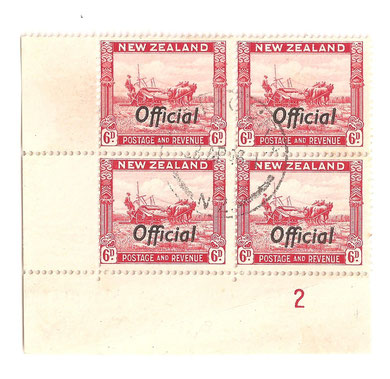 LO9e plate 2,Rare genuine used block. 23/04/1946.
