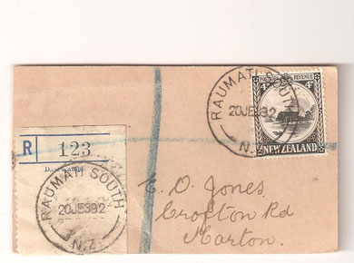 Small 1939 mail tag, Registered, Raumati south to Marton, 20th June 1939.