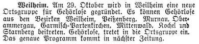 Zeitungsausschnitt vom Samstag, 21.Oktober 1933
