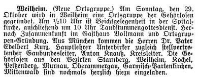 Zeitungsausschnitt vom Samstag, 28.Oktober 1933