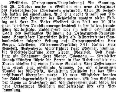 Zeitungsausschnitt vom Samstag, 04.November 1933