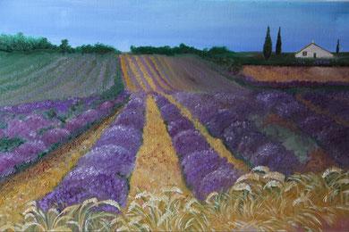 © Mitten im Lavendelfeld, Öl auf Leinwand 70 x 50cm