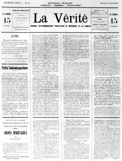 """La """"une"""" du numéro 44 de La Vérité, le dernier numéro de ce journal (3 août 1895)."""