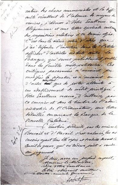 D09 - Lettre-rapport du gouverneur de Pritzbuer au ministre, 16 juin 1877 (dernière page).