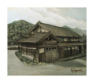 納屋・民家・柿の木(アクリル絵の具/キャンバス)F10号