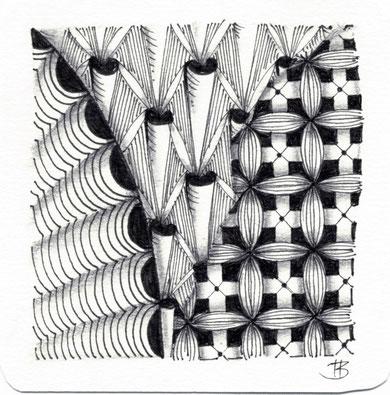 patterns: crescent moon, bugles, ??