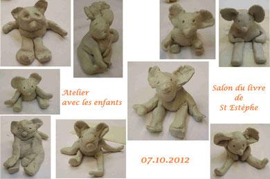 """animation """"souris en platre""""- salon du livre de St Estèphe 2012"""