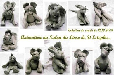 """Animation """"souris en terre"""" - Salon du livre de St Estephe (oct. 2008)"""