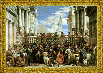 "Tiziano in the middle plays a "" ??? violone  or... "" Nozze di Cana by "" Paolo Veronese"" 1562/1563"