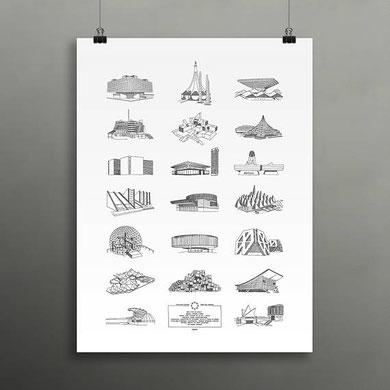 Affiche Pavillons de l'Expo 67 de Darveelicious