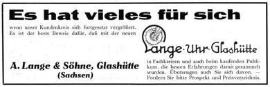 Werbung der Firma A. Lange & Söhne für die neue Marke OLIW