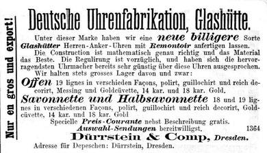 Dürrstein DUZ Werbung 1879