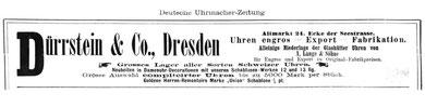 DUZ Werbung 1986 für Schablonenuhren Marke Union mit Dreiviertelplatine aus der Schweizer Produktion