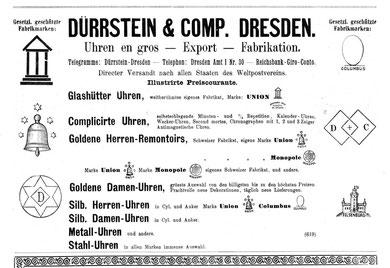 Werbung im Allgemeinen Journal der Uhrmacherkunst 1898