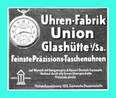 Zeitungswerbung 1913 Union Glashütte