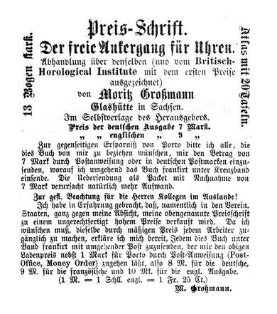 Anzeige im AJU 1877 [1]