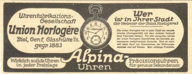 1905 Werbung der Union Horlogère für Alpina