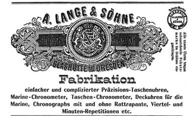 Werbung der Firma A. Lange & Söhne von 1904