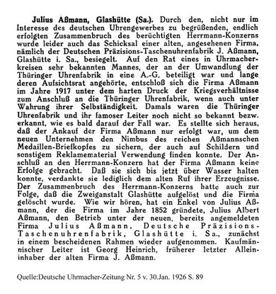 """Die Löschung der Firma """"J. Assmann""""  [6]"""