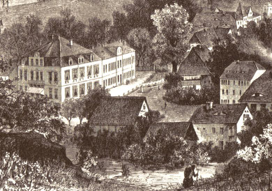Das 1873 in Glashütte erbaute Wohnhaus der Familie Lange mit der angrenzenden ebenfalls neuen Fabrikanlage