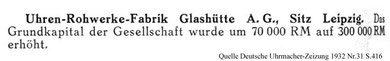 Kapitalerhöhung bei der UROFA im Juli 1932