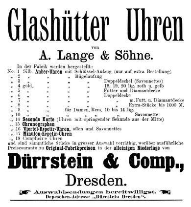 Werbeanzeige Deutsche Uhrmacher-Zeitung 1886