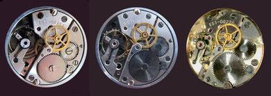 Die Ringunruh beim linken Werk ist auf einen späteren Austausch zurückzuführen.