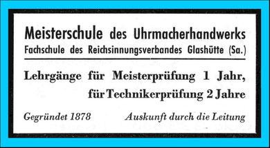 Werbeanzeige im Uhrmacherkalender 1942