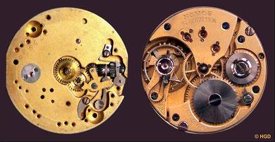 Nomos Damentaschenuhrwerk Nr. 075658 um 1910 mit geschraubten Chatons und Rückerfeinregulierung